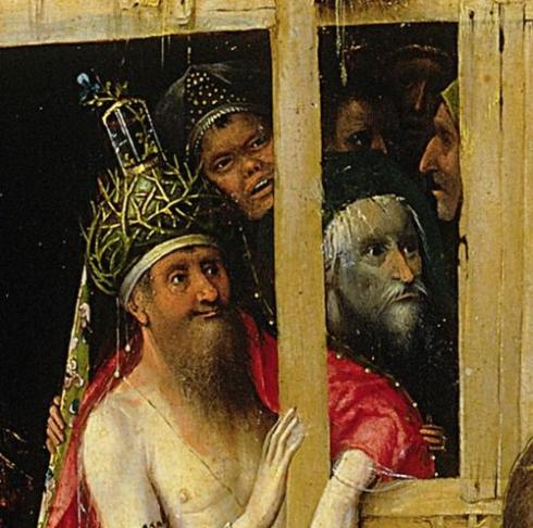 Close of the 'fourth magus' (Jewish Messiah? Balaam?). Hieronymus Bosch, Triptych of the Epiphany, c. 1495, oil on panel. Museo nacional del Prado, Madrid.