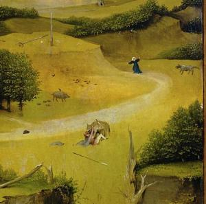 Fleeing from a wolf, gored by a boar. Hieronymus Bosch, Triptych of the Epiphany, c. 1495, oil on panel. Museo nacional del Prado, Madrid.